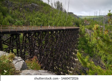 Myra Canyon Trestle Trail Kelowna. Cyclists cross one of the trestles in Myra-Bellevue Provincial Park in Kelowna.