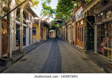 Myrina, Lemnos island, Greece - April 28th 2019 - Picturesque street in the center of Myrina, Lemnos island, Greece