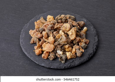 Myrrh is an aromatic resin, used for religious rites, incense and perfumes.