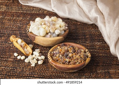 Myrrh and frankincense  is an aromatic resin, used for religious rites, incense and perfumes
