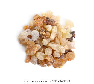 Myrrh with frankincense isolated on white background.
