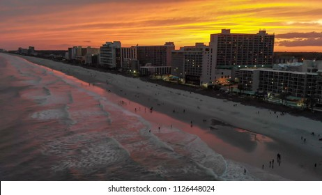 Myrtle Beach aerial view at sunset, South Carolina.