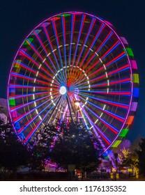 Myrtle Beach Broadway Ferris Wheel with bursting bright colors