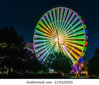 Myrtle Beach Broadway Ferris Wheel with bursting bright colors