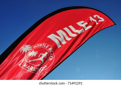 MYRTLE BEACH - FEBRUARY 19: Mile 13 Marker reaches into the South Carolina sky as Myrtle Beach host Myrtle Beach Marathon. February 19, 2011. February 19, 2011, Myrtle Beach, South Carolina.