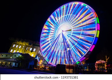 Myrtle Beach, SC / USA - 9-19-2018 Colorful Night image of the Ferris Wheel at Broadway at the Beach.