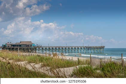 Myrtle Beach, SC / USA - 9-19-2018 Quite beach photo after Hurricane Florence with Pier 14