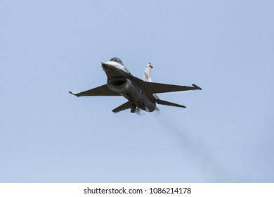 MYRTLE BEACH, SC, USA - APRIL 27TH-29TH, 2018: Lockheed Martin F-16 Fighting Falcon of the US Air Force Viper demonstration team  at the Wings Over Myrtle Beach airshow