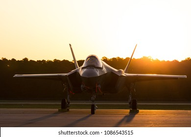 MYRTLE BEACH, SC, USA - APRIL 27TH-29TH, 2018: Lockheed Martin F-35 Lightning  at the Wings Over Myrtle Beach airshow