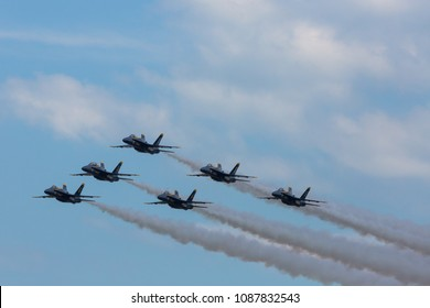 MYRTLE BEACH, SC, USA - APRIL 27TH-29TH, 2018: US Navy flight demonstration squadron Blue Angels performing at the Wings Over Myrtle Beach airshow