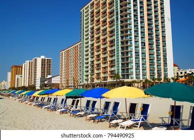 Myrtle Beach, SC, USA  June 24 Beach Chairs and Umbrellas Await the Sun Seekers at Myrtle Beach, South Carolina