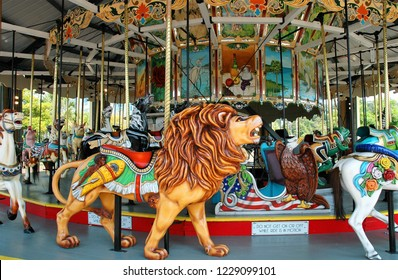Myrtle Beach, SC/USA-July 19 2008: One of 15 working Herschell-Spillman carousels remaining in the world. Built in 1912 has been in Myrtle Beach since 1950. Featuring an array of fanciful animals.