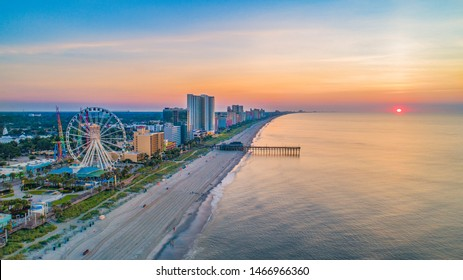 Myrtle Beach South Carolina Drone Skyline Aerial.