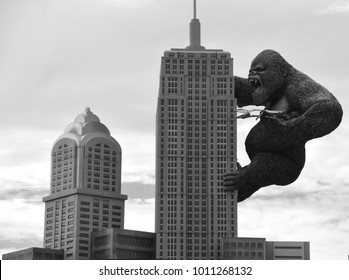 MYRTLE BEACH SOUTH CAROLINA JUNE 29 2016: Giant King Kong on Empire State Building in Hollywood Wax Museum Entertainment Center