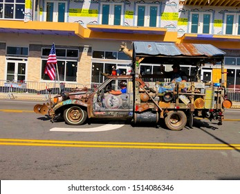 Myrtle Beach, South Carolina - September 22 2019: Hillbilly truck in the annual Shriners parade in Myrtle beach raising money for the Shriners Children Hospitals.