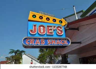 Myrtle Beach, South Carolina / USA - June 4, 2011: Joe's Crab Shack located in the popular tourist attraction Broadway at the Beach serves its signature seafood to hungry South Carolina beach goers.