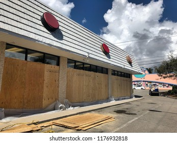 Myrtle Beach, South Carolina / USA - September 11, 2018: ABC, Red Dot Liquor store boards up in advance of approaching Hurricane Florence.