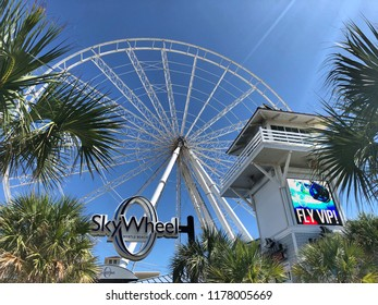 Myrtle Beach South Carolina / USA - September 12 2018: The tourist attraction know as the Sky Wheel has removed the passenger gondolas in advance of approaching Hurricane Florence.