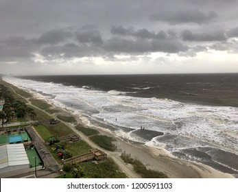 Myrtle Beach, South Carolina / USA - October 11 2018: Hurricane Michael now a tropical storm causes storm surge and high surf along the resort town also known as the Grand Strand.