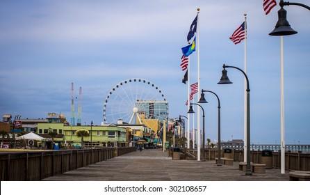 Myrtle Beach, South Carolina, USA - February 9, 2015. Myrtle Beach boardwalk on the Atlantic coast in South Carolina.