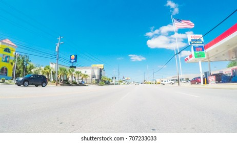 Myrtle Beach, South Carolina, USA-July 14, 2017. Driving in Myrtle Beach during the day.