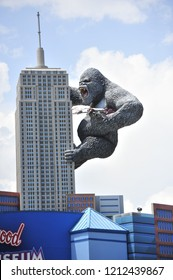 Myrtle Beach, South Carolina/United States- 07/20/2015: A large King Kong-like gorilla is seen on top of a building at Hollywood Wax Museum.