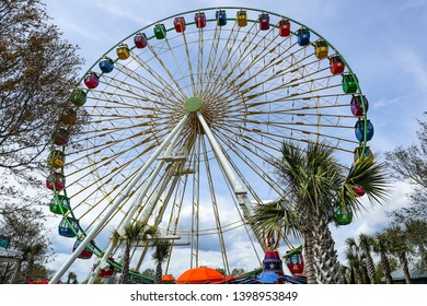 MYRTLE BEACH, SOUTH CAROLINA/USA - MARCH 29, 2019: The 360 Observation Wheel at Broadway at the Beach, the most popular tourist destination in the area with a variety of attractions and shops.