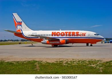 MYRTLE BEACH / USA - SEPTEMBER 2003 Short lived Hooters Air Boeing 737-228 ADV, N252TR, cn 23001 / 936 awaiting its next flight. Originally delivered to Air France in 1983.