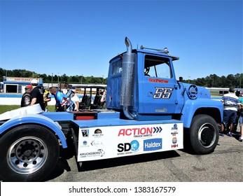 Myrtle Beach,South Carolina.Saturday April 27,2019 Myrtle Beach speedway.Bandit Big Rig Series.Meet the drivers,number 55 ,the godfather,Craig Kruckebergs truck.