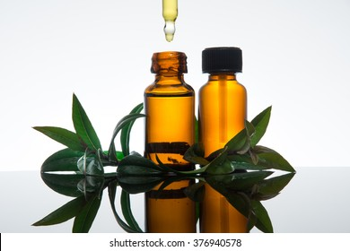 Myrtle essential oil with amber glass bottle