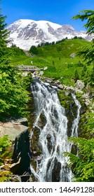 Myrtle Falls runs thru meadows above Paradise in Mount Rainier National Park, Washington