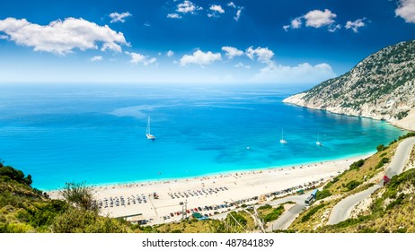 Myrtos beach, Kefalonia island, Greece. Beautiful view of Mirtos bay and beach on Kefalonia island