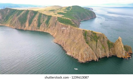Mys Khoboy (Cape Khoboy). Russia, Lake Baikal, Olkhon Island. The northernmost point of the island of Olkhon, From Drone