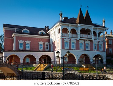 MYSHKIN, RUSSIA - AUGUST 27, 2016: view on cultural complex â??mouse palaceâ?� in russian style on street of small provincial town Myshkin