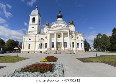 MYSHKIN, RUSSIA - AUGUST 29, 2016: Cathedral of the Assumption of the Blessed Virgin Mary, built in 1820