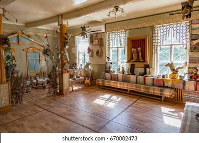 MYSHKIN, RUSSIA - JUNE 18, 2017: Inside the Folk Crafts Museum Russian felt boot Valenki. Yaroslavl Region
