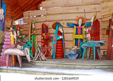 MYSLENICE, POLAND - JANUARY 11,2019: Traditional Christmas decorations, nativity scene with old wooden figurines in St. Francis of Assisi church in Myslenice, Poland.