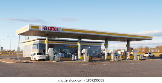 MYSLIBORZ, POLAND - March 17, 2021: Lotos gas station by the express road S3, empty because of lockdown Covid-19