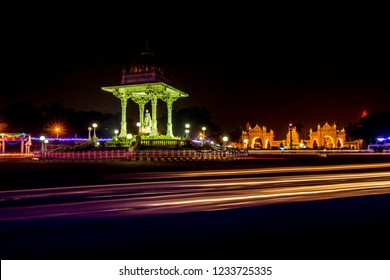 Mysore city at night, Mysore palace see in the background.