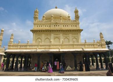 Mysore / India 1 October 2017 Tombs of Tipu Sultan his father Haider Ali and mother inside the family mausoleum known as the gumba at Srirangapatna  Mysore ( Mysuru) in Karnataka India