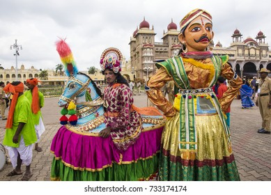 Mysore / India 30 September 2017 Traditional musicians and folk artists get ready for Dussehra procession at  Mysore ( Mysuru) in Karnataka India