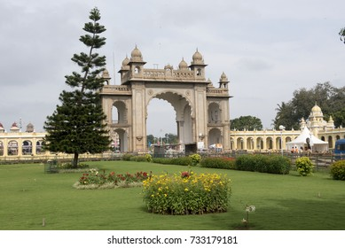 Mysore / India 30 September 2017 Entrance Gate Of Maharaja's Palace at  Mysore ( Mysuru) in Karnataka India