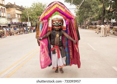 Mysore / India 30 September 2017 Artist performing folk dance drama  Somana Kunitha on street during Mysore Dasara festivities at  Mysore ( Mysuru) in Karnataka India