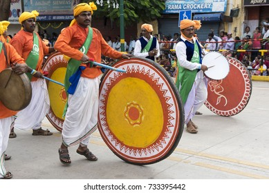 Mysore / India 30 September 2017 Traditional musicians drummers during the Dussehra procession at  Mysore ( Mysuru) in Karnataka India