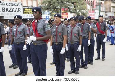 Mysore / India 30 September 2017 boy scouts and Guide take part in the procession for Mysore Dasara at  Mysore ( Mysuru) in Karnataka India