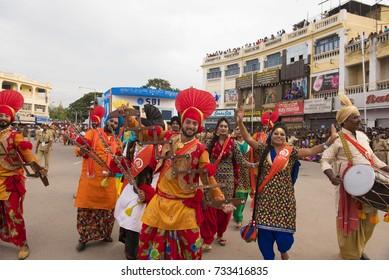 Mysore / India 30 September 2017 Artists perform the Bhangra  dance during celebrations of Dussehra at  Mysore ( Mysuru) in Karnataka India