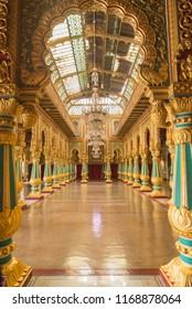 MYSORE, INDIA - Aug, 2018 - Beautiful interior view of beautiful historic Ambavilas Palace in Mysore, Karnataka, India on Aug 24-2018