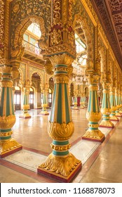 MYSORE, INDIA - Aug, 2018 - Beautiful interior view of beautiful historic Ambavilas Palace in Mysore, Karnataka, India on Aug 24-2018