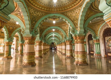 MYSORE, INDIA - Aug, 2018 - Interior panoramic view of beautiful historic Ambavilas Palace in Mysore, Karnataka, India on Aug 24-2018