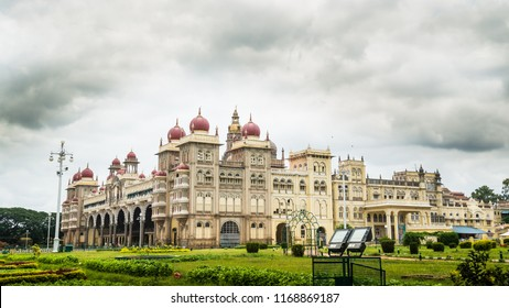 MYSORE, INDIA - Aug, 2018 - Palace view of beautiful historic Ambavilas Palace from the side gate  in Mysore, Karnataka, India on Aug 24-2018